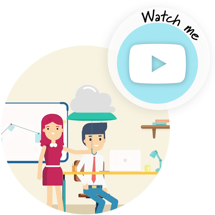 lady holding umbrella over colleague's head with watch me button