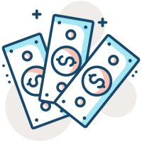 3 dollar bills fanned out