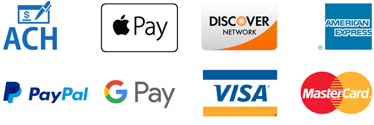 pay with Bank Draft/ACH, AMEX , Visa, Discover, Mastercard, Apple Pay, Google Pay, PayPal